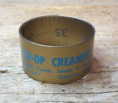Vintage Agricultural Advertising Rolled-up Metal Yardstick- Delevan MN Creamery