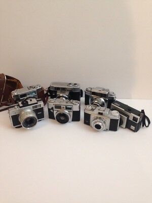 LOT OF 7 VINTAGE CAMERAS AGFA, Ricoh, and Kodak