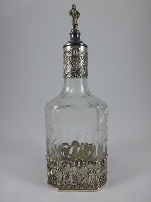 Antique HANAU GERMANY SILVER & ETCHED GLASS DECANTER w/ Figural Stopper