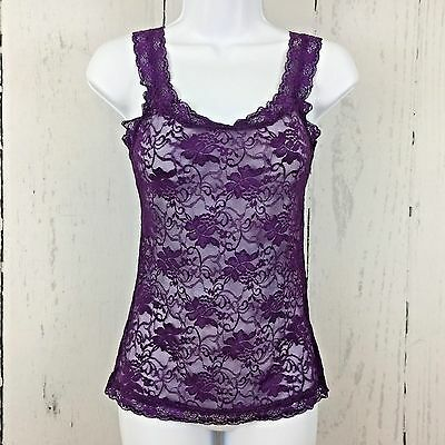 Fredericks of Hollywood Camisole Cami Small Purple Lace Stretch Sheer