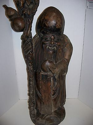 "Chinese Carved Solid Wooden Longevity Antique Statue 36"" tall"