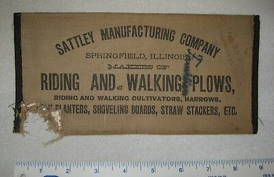 Sattley Mfg. Co. Springfield, ILL cloth memo booklet, advertising riding plows