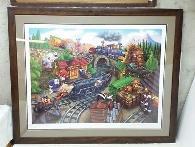 1999 Looney Tunes Lionel Trains Limited Edition Lithograph Framed Print