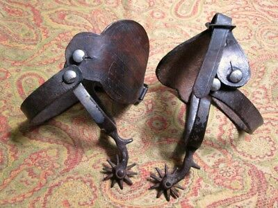 Antique 1909 Western Cowboy Spurs With Tooled Leather Straps
