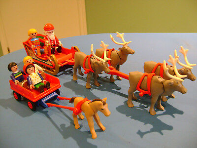 Playmobil Lot #4 Parts Figures Christmas Santa Claus Reindeer Sled Children