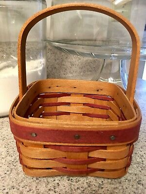 Longaberger basket red 1993 small square holiday vintage handwoven handle signed