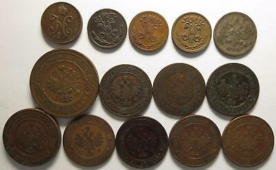No reserve! Russian Empire lot, 1/2 Kopek,1 Kopek coins +more, 1840's to 1910's