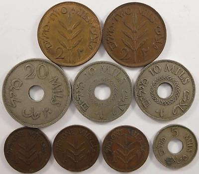 No reserve! Palestine coin lot, 1, 2, 5, 10, and 20 mils coins, 1920's to 1940's