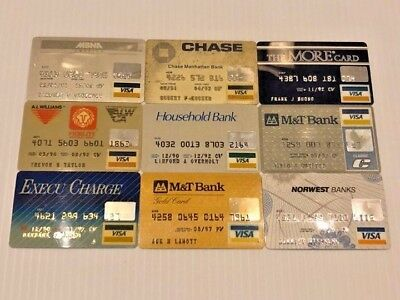 Lot of 9 vintage used expired VISA credit cards for collectors Y5