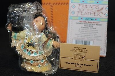 Enesco Friends Of The Feather 1996 She Who Reins Power Girl & Horse #267740 Nib