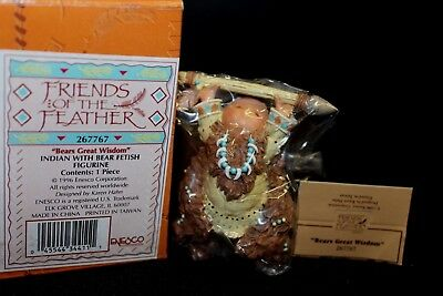 Enesco Friends of the Feather 'Indian with Bear Fetish #267767 - NIB