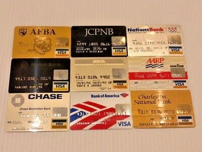 Lot of 9 vintage used expired VISA credit cards for collectors Y6