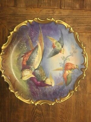 Beautiful Antique Limoges Hand Painted Charger Plate Birds Of Paradise WOW!