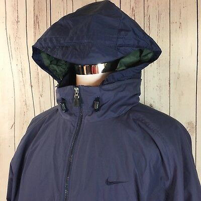 NIKE Mens XL Hooded Filled/Insulted Winter Coat Blue Ski Snowboard Hideable Hood