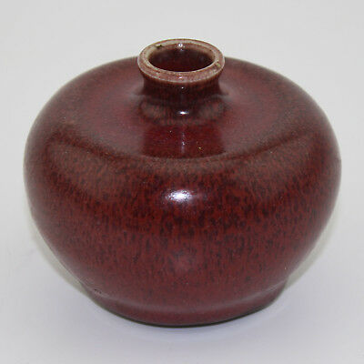 Chinese antique old hand-carved porcelain red glaze writing-brush washer Z