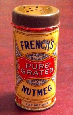 Antique FRENCH'S Nutmeg 1 oz. Spice Tin Can ROCHESTER PHILA. Great GRAPHICS