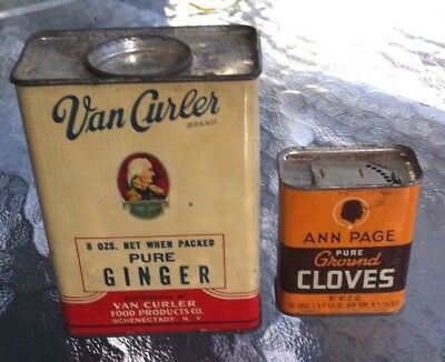 LARGE SIZE 8 oz. VAN CURLER GINGER SPICE TIN CAN ALL METAL SCHENECTADY SOLDIER