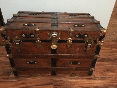 Trunks-n-Treasures BEAUTIFUL  Refinished Antique Flat Top Steamer Trunk Chest
