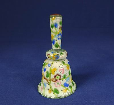 Chinese Enamel Cloisonne Silver Bell w/ Multi-colored Blossoms & Flowers