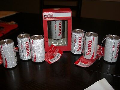 "Lot of 7 Kurt Adler Coca Cola Christmas Ornaments ""Frosted"" Diet Coke Cans"