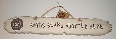 """Boyds Bears Adopted Here"" Wooden Rustic Sign w/Tag 22"""