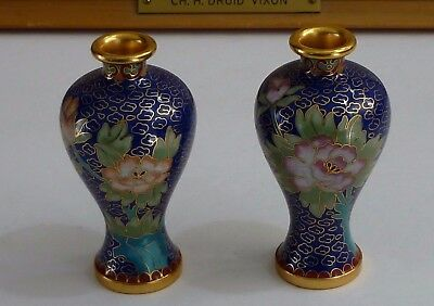 Nice Pair of Vintage Chinese Cloisonne Vases Lot!