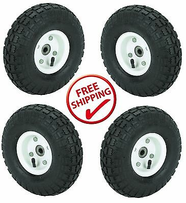 """4 Tire Set 10"""" Steel Air Pneumatic Hand Truck Dolly Wagon Wheel FREE SHIPPING!!"""