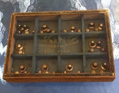 Antique King Collar Buttons Reverse Glass Store Display Case With Product