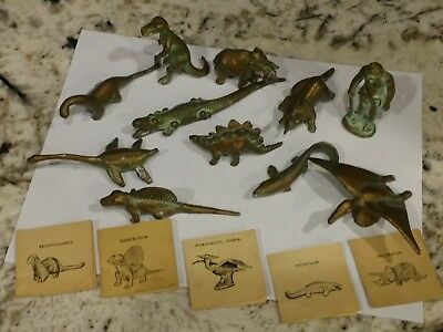 Vintage SRG Co  Bronzed Metal Dinosaurs Animals ~ 11 types + 5 Information Cards