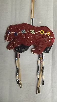Native American Made Beaded Bear Fetish White Sage Filled Free Shipping
