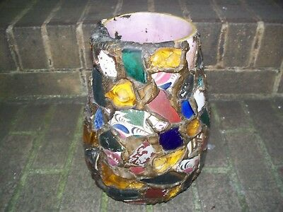 "Estate Antique Mid-20th Century Memory Pot/Jug/""Putty Pot"", Glass and Shards"