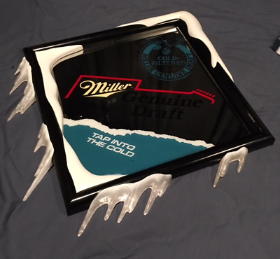 """MILLER BEER ICICLE MIRROR SIGN """"TAP INTO THE COLD""""  25""""x26"""""""