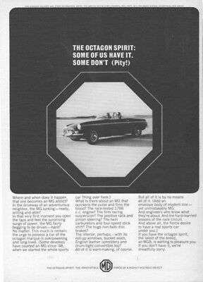 1965 MG Convertible Octagon Spirit Vintage Car Auto 1960s Print ad