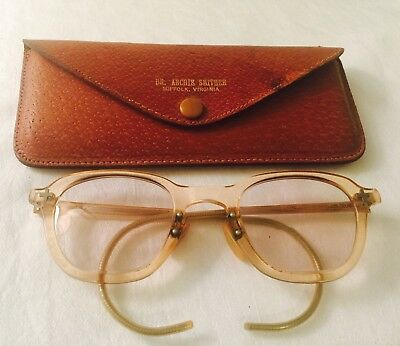 ANTIQUE BLONDE Celluloid Safety D&L EYEGLASSES within Leather Looking Case