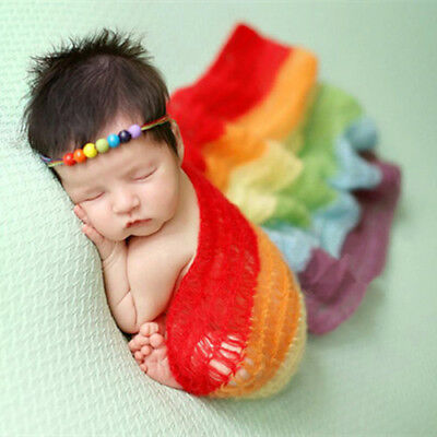 Unisex Baby Boy/Girl's Newborn Photography Props Blankets, Rainbow Striped