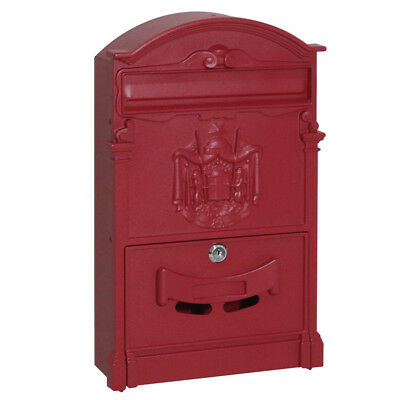 Iron Mailbox Letter Box with Lock & 2pcs Keys 4 Colors Wall Mount Vintage Slots