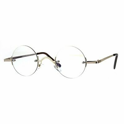 Small Round Circle Clear Lens Rimless Glasses Wide Frame Narrow Lens