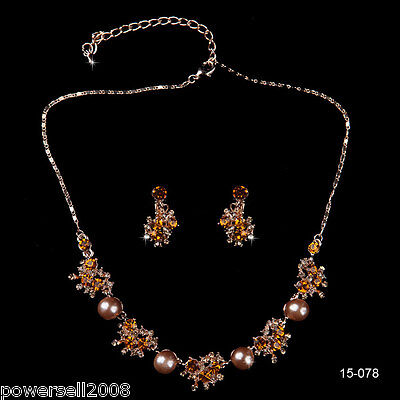 Custom Made Bridal Pageant Necklace Earrings Jewelry Set Wedding Accessories !R!
