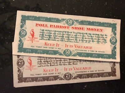 2 Vintage Crisp Poll Parrot Shoe Money scrip, redeemable at Poll Parrot, 1930's