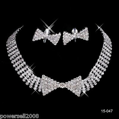 Custom Made Bridal Pageant Necklace Earrings Jewelry Set Wedding Accessories #Z!