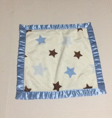 Vitamins Baby Blue Brown Ivory Stars Satin Security Blanket Lovey