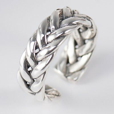 Solid S925 Sterling Silver Rings Vintage Braided Type Finger Ring For WomTL