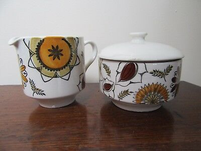 2 Pieces Kathie Winkle Calypso Milk/Cream Jug and Lidded Sugar Bowl Broadhurst