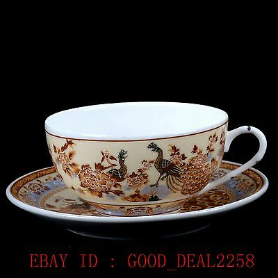 Chinese Famille Rose Porcelain Hand-painted Flower&Peacock Dish & Cup ZJ33