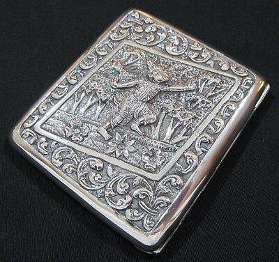 RARE Antique Chinese Export Silver Cigarette Case Heavily Embossed Dancing God