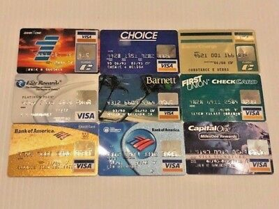 Lot of 9 vintage used expired VISA credit cards for collectors Y17
