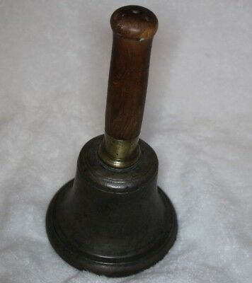 "Large Antique Cast Bronze Brass Ring and Wood Handle School Bell 9"" Tall 5"" Dia"