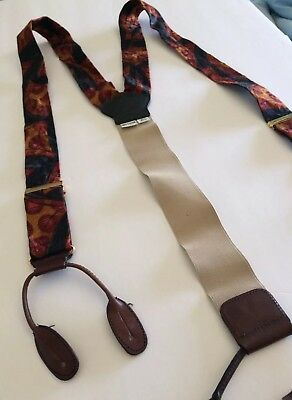 TORINO Brown Leather Autumn Burgundy Floral Abstract Gold Blue Suspenders Braces