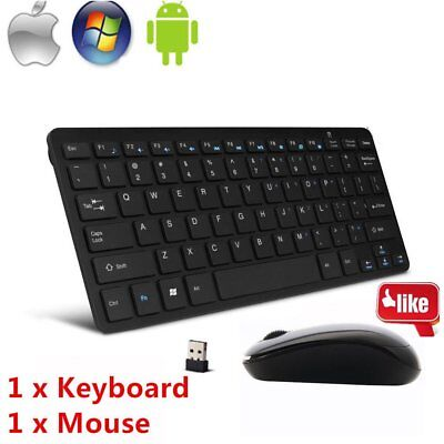 Mini Thin 2.4G Wireless Keyboard and Optical Mouse Combo Kit for Desktop lot PE