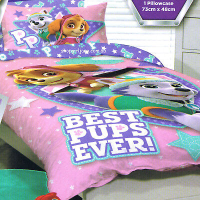 Paw Patrol - Best Pups Ever Pink -Single/US Twin Bed Quilt Doona Duvet Cover Set